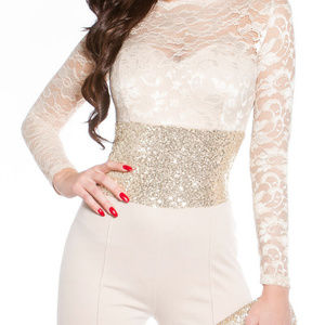 Other - Wide Leg Lace Bodice Banded Sequin Waist Jumpsuit